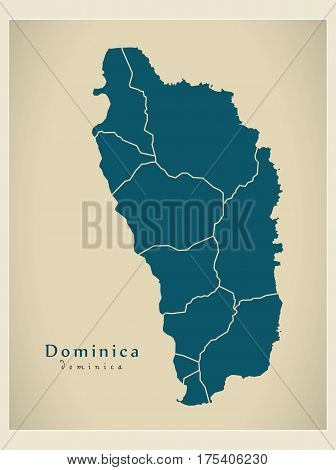 Modern Map - Dominica Parishes Dm Illustration Silhouette