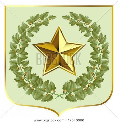 Vector green oak and a gold star on a escutcheon