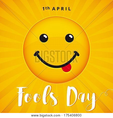 April Fools Day text and vector illustration of a smiling face. 1 April Fool's Day. April Fools Day smile banner