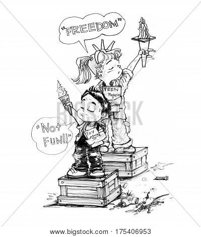 Cartoon character design survivors children sister and brother acting freedom symbol and say not fun After the city is destroyed by the political conflict Pencil sketch and drawing black and white.