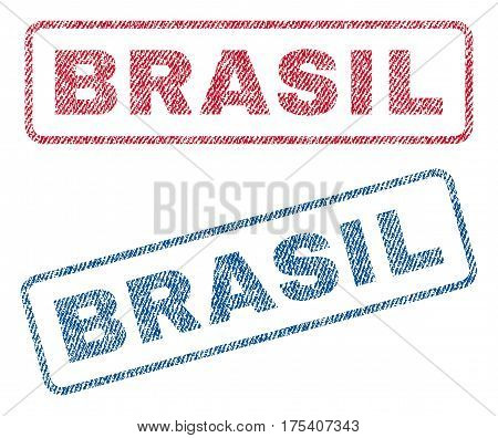 Brasil text textile seal stamp watermarks. Blue, red fabric vectorized texture. Vector tag inside rounded rectangular shape. Rubber emblem with fiber textile structure.