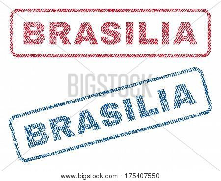 Brasilia text textile seal stamp watermarks. Blue, red fabric vectorized texture. Vector tag inside rounded rectangular shape. Rubber emblem with fiber textile structure.