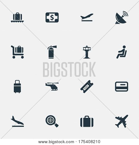 Vector Illustration Set Of Simple Plane Icons. Elements Alighting Plane, Air Transport, Travel Bag And Other Synonyms Trolley, Seat And Search.