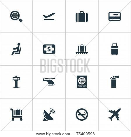 Vector Illustration Set Of Simple Airport Icons. Elements Cigarette Forbidden, Global Research, Credit Card And Other Synonyms Seat, Stop And Card.