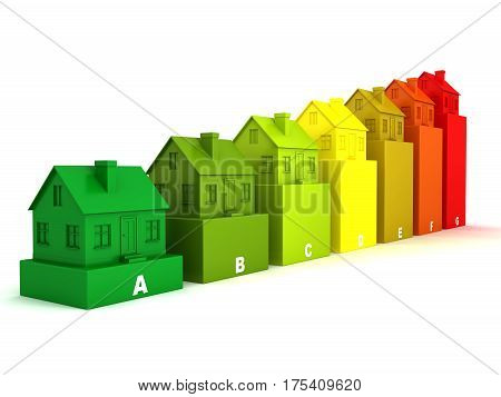 Colored houses on the chart. 3d render