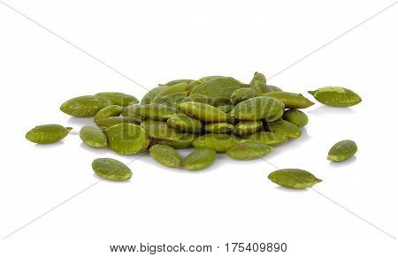 Pumpkin seeds on a white background food