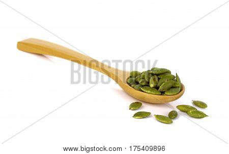 Pumpkin seeds on a white background food snack