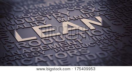 Many words over black background with reflection and blur effect focus on the words lean and production. 3D illustration of production management.