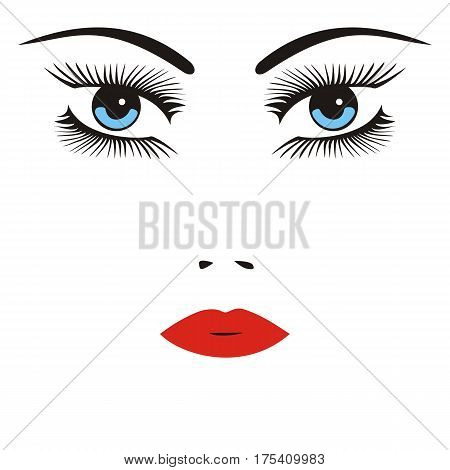 vector illustration of a face of a woman with long lashes and red lips