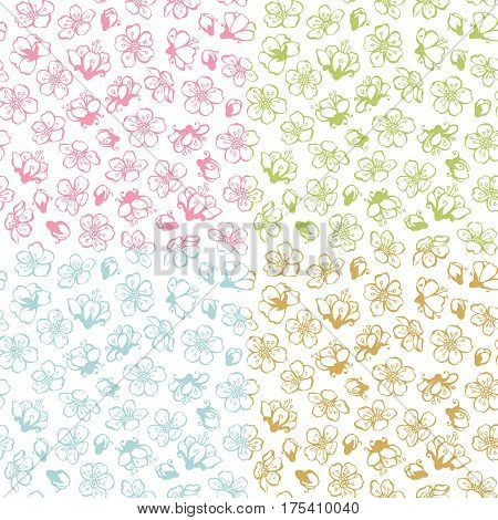 Vector Set Of Doodles Seamless Spring Blossoms Patterns.