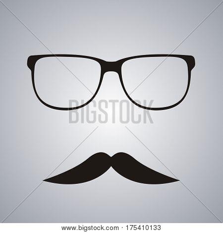 Retro mustache and glasses symbol. Vector illustration