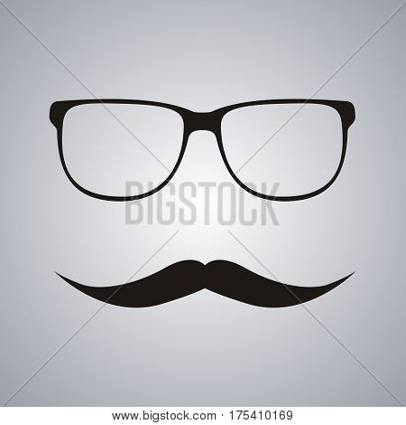 Hipster glasses and mustache. flat Vector illustration