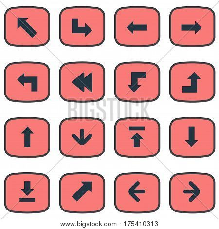 Vector Illustration Set Of Simple Pointer Icons. Elements Right Direction, Downwards Pointing, Rearward And Other Synonyms Download, Pointing And Upward.