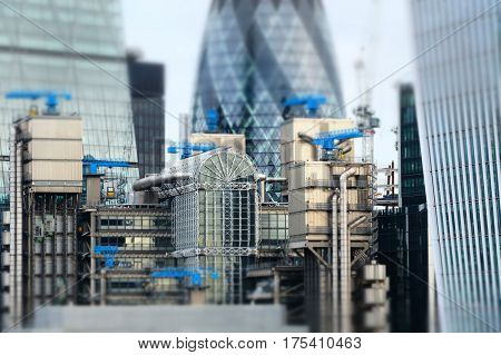 Minaturised Shot Of Buildings In London Financial District