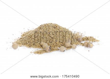 White Pepper isolated on white background spice food