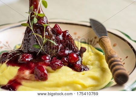 Roasted Duck Leg with Mashed Potatoes Apples and Red Currants in Red Wine Sauce