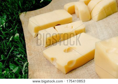 Cheese Slices On Wooden Board Appetizer On Background Green Grass, Picnic Outdoors, Catering Buffet