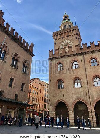 BOLOGNA - MARCH 7, 2017: 14th Century Town Hall Palazzo d'Accursio in Piazza Maggiore, Bologna, Italy.