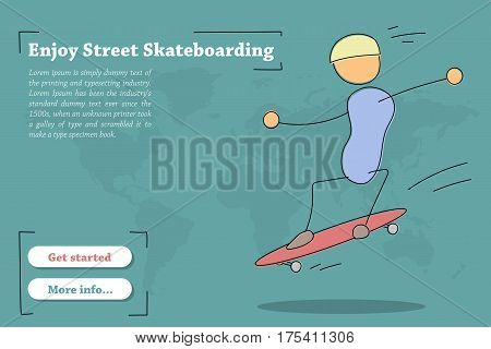 Vector banner template for training Street Skateboarding. Hand drawing illustration of young riding man on skateboard in jump. Modern thin line art horizontal card on green background