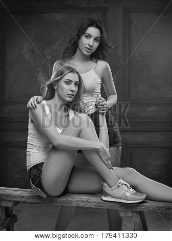 Two beautiful women in erotic lingerie on white studio background. black and white photo
