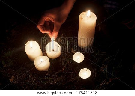 Woman Hand Lighting Up Candles At Bridal Shower In Summer Park, Moment At Party Or Birthday Receptio