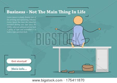 Vector template of concept - Business meditation at workplace. Hand drawing illustration of sitting man on the work desk without shoes in office. Modern thin line art horizontal banner