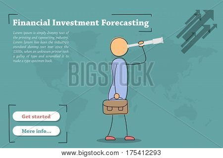 Vector template of concept - Financial Investment Forecasting. Hand drawing illustration of businessman with telescope and case. Modern thin line art horizontal banner