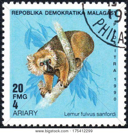 UKRAINE - CIRCA 2017: A stamp printed in Malagasy Madagascar shows Lemur fulvus sanfordi circa 1990