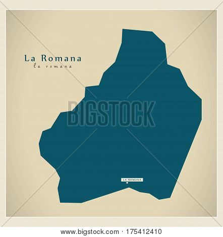 Modern Map - La Romana Do Illustration Silhouette