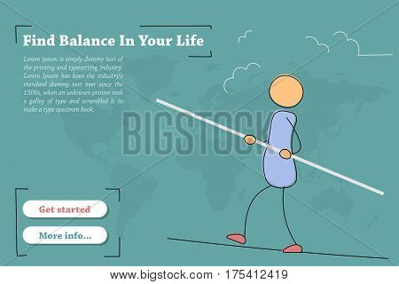 Vector template of concept - Find balance in your life. Hand drawing illustration of businessman on the rope with balance pole. Modern thin line art horizontal banner