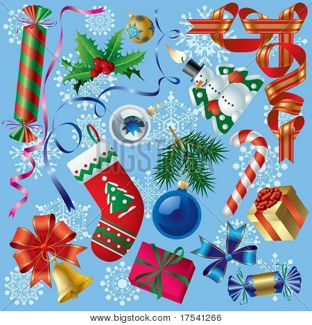 Vector set of Christmas and New-Year's decorations (objects, background and border elements)