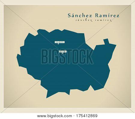 Modern Map - Sanchez Ramirez Do Illustration Silhouette