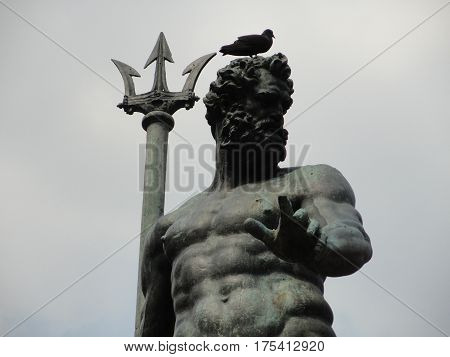 Large Statue with Trident in Bologna, Italy