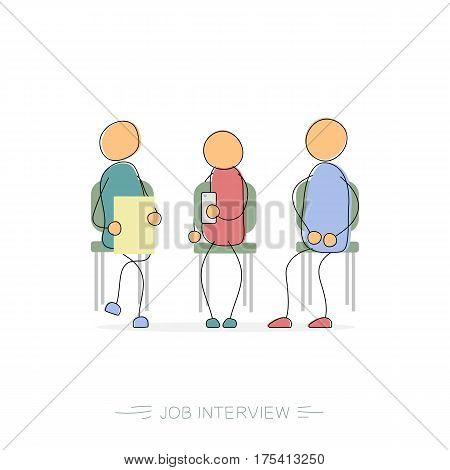 Vector hand drawing illustration of three businessman sitting on the chairs and wait for job interview. Concept of job search difficulties. Modern thin line art concept with pastel colors on white