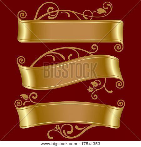 Conjunto de vectores de tres banderas de oro