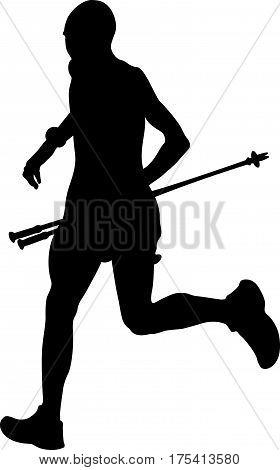 man running mountain marathon skyrunning in hand trekking pole black silhouette