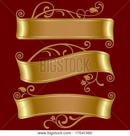 Raster version of vector set of three gold banners (contain the Clipping Path)