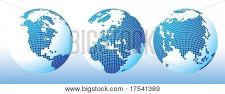 Vector blue global Set