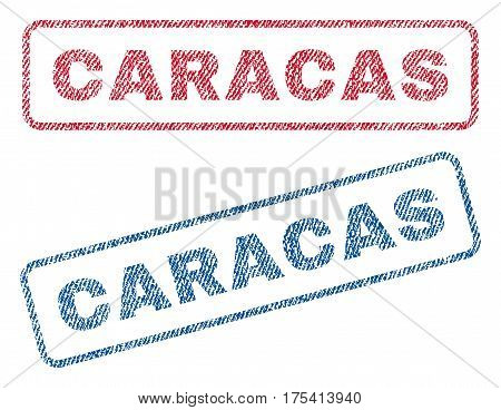 Caracas text textile seal stamp watermarks. Blue, red fabric vectorized texture. Vector caption inside rounded rectangular banner. Rubber sign with fiber textile structure.