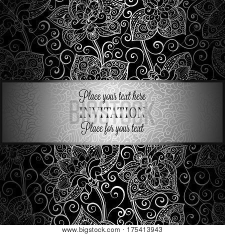 Victorian Background With Antique, Luxury Black And Silver Vintage Frame, Victorian Banner, Damask F