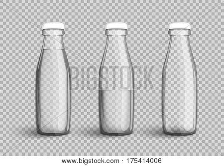 Transparent glass bottle with water full half full and empty set on transparent background. Vector illustration in your designs mock-up containers filled with liquid drink to quench your thirst.