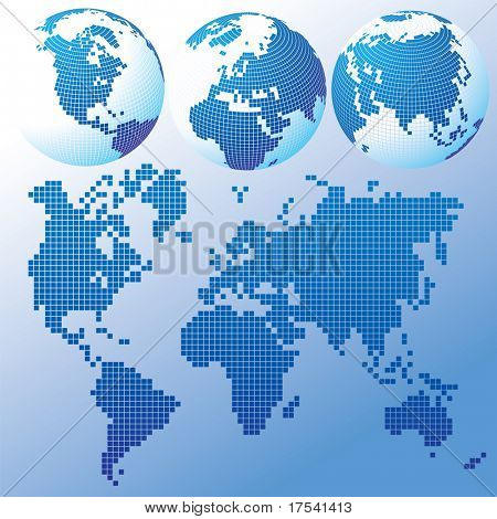 Raster version of vector blue global Set with a map