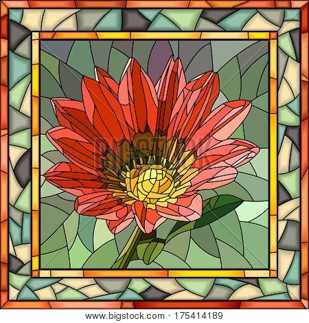 Vector mosaic of red Gazania in square stained-glass window frame.