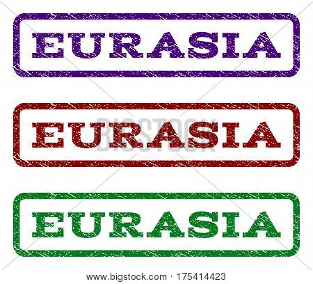 Eurasia watermark stamp. Text caption inside rounded rectangle frame with grunge design style. Vector variants are indigo blue, red, green ink colors. Rubber seal stamp with unclean texture.