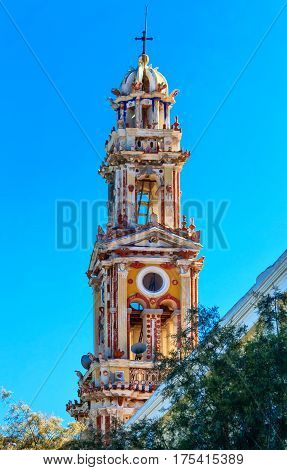Monastery Panormitis bell tower is one of the highest Baroque bell towers in the world. Symi Island, Greece