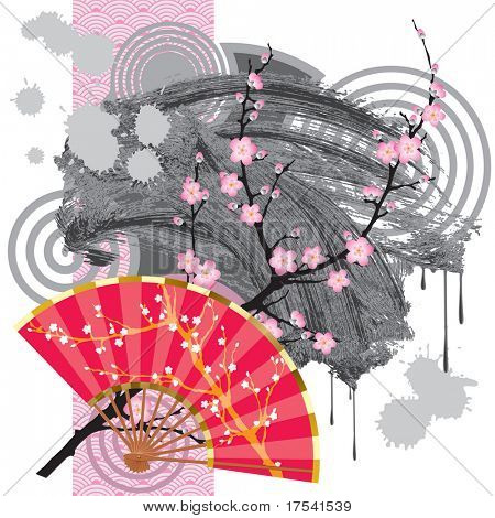 Raster version of vector japan fan with a grey blot and a rose seamless poster