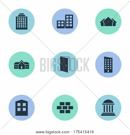 Vector Illustration Set Of Simple Construction Icons. Elements Stone, Offices, Construction And Other Synonyms Open, House And Three.