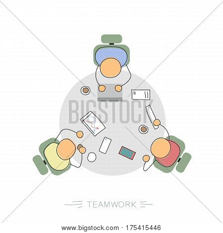 Vector hand drawing illustration of three men sitting at round desktop in office with paper and computers. Concept of teamwork, cooperation in business. Modern thin linear concept on white background