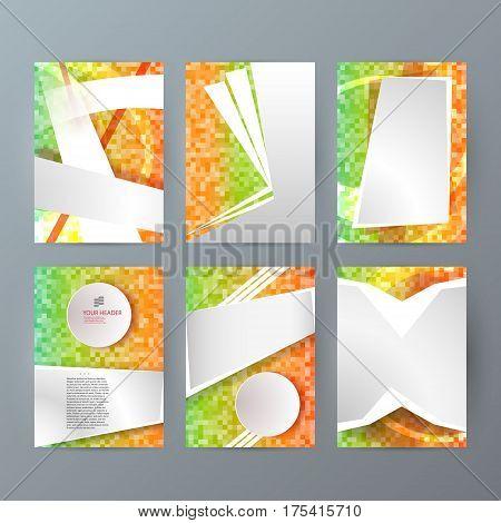 Set Templates Vertical Brochure Mockup Mosaic Glow Effect01