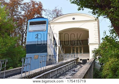 Old funicular in Zagreb, capital of  Croatia